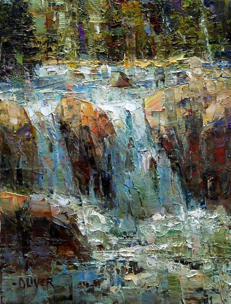 """""""A Waterfall Somewhere in Yellowstone."""" original fine art by Julie Ford Oliver"""