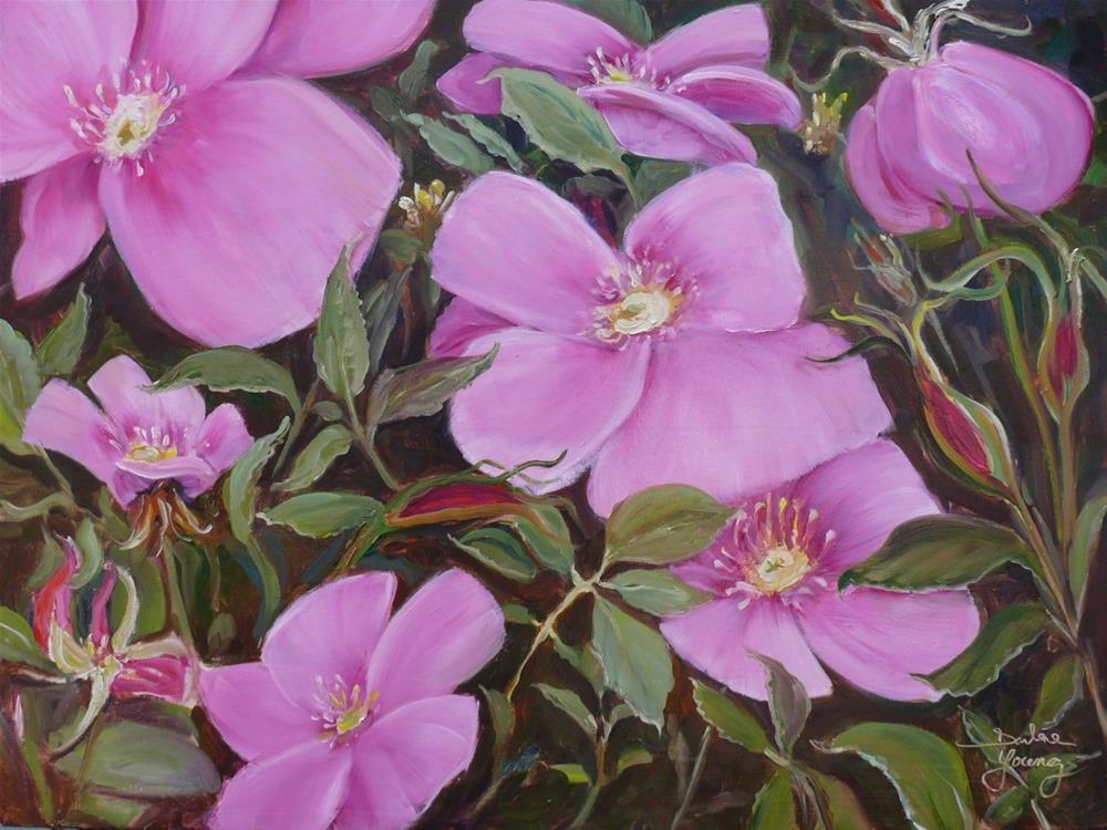 """1056 Wild Roses, 18x24, oil on canvas"" original fine art by Darlene Young"