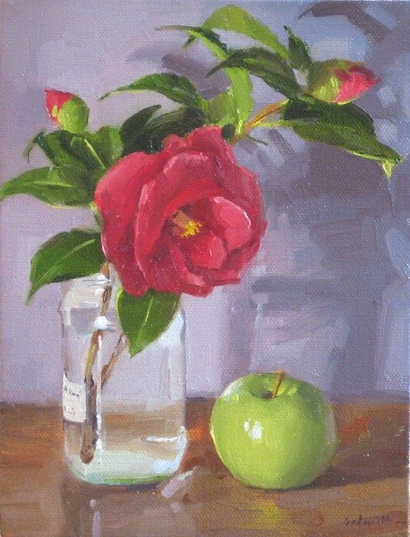 """""""Camellia and Green Apple still life oil painting red flowers floral fruit"""" original fine art by Sarah Sedwick"""