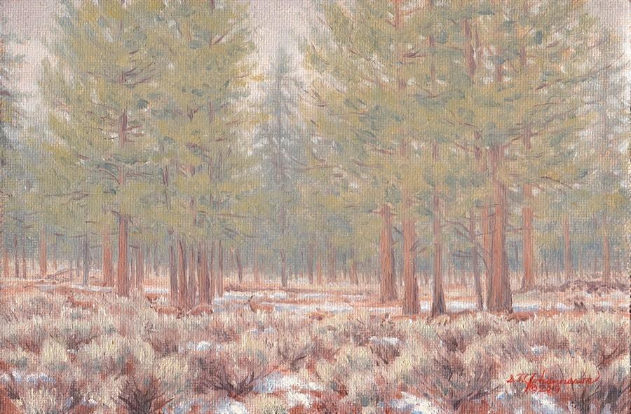 """Grazing through a Soft Rain  & Last of the Snow"" original fine art by Steven Thor Johanneson"