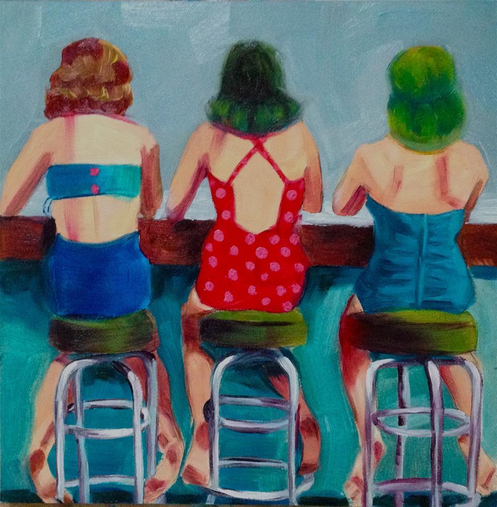 """""""Belles on Benches (after Nina Leen)"""" original fine art by Bev Thibault"""