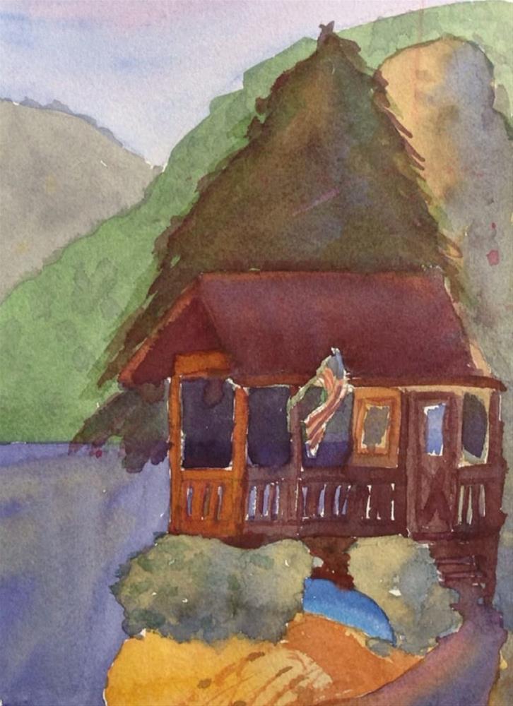 """Fishing Cabin"" original fine art by Maria Peagler"