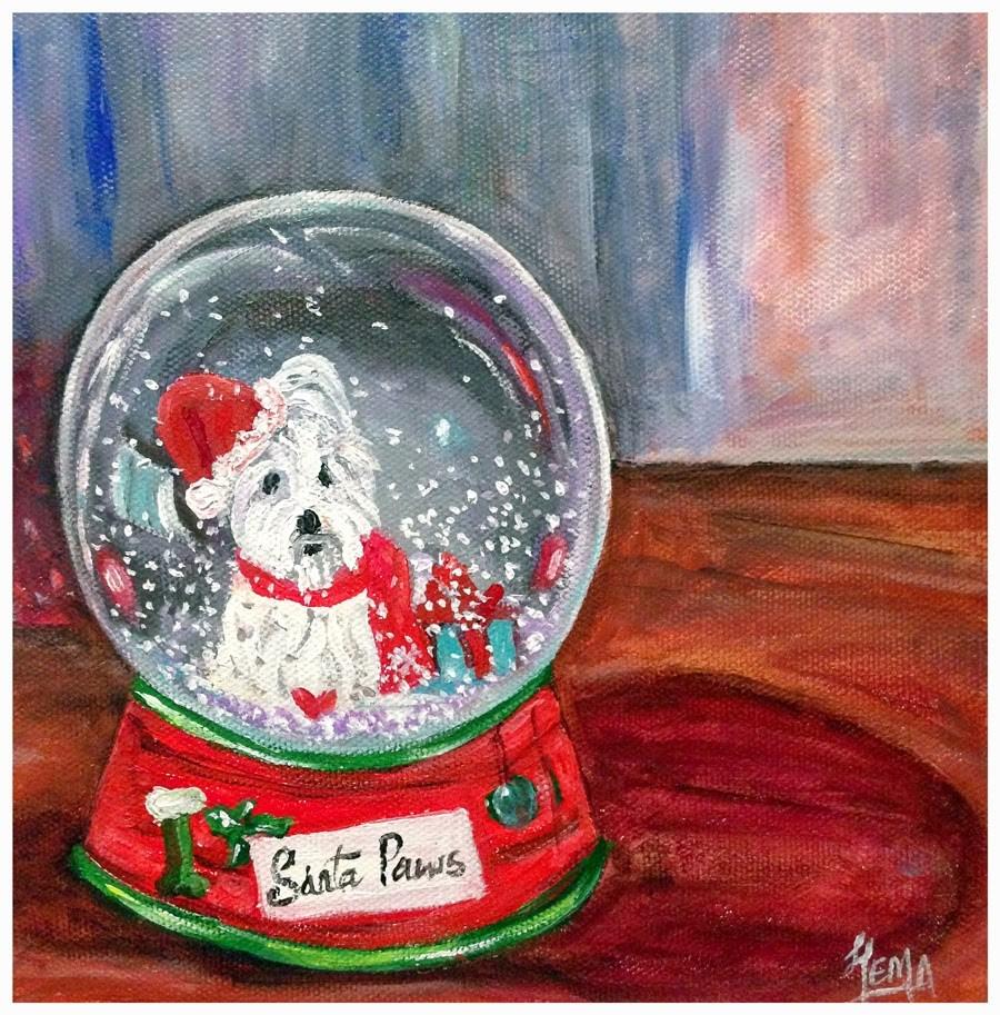 """Merry Christmas !!"" original fine art by Hema Sukumar"