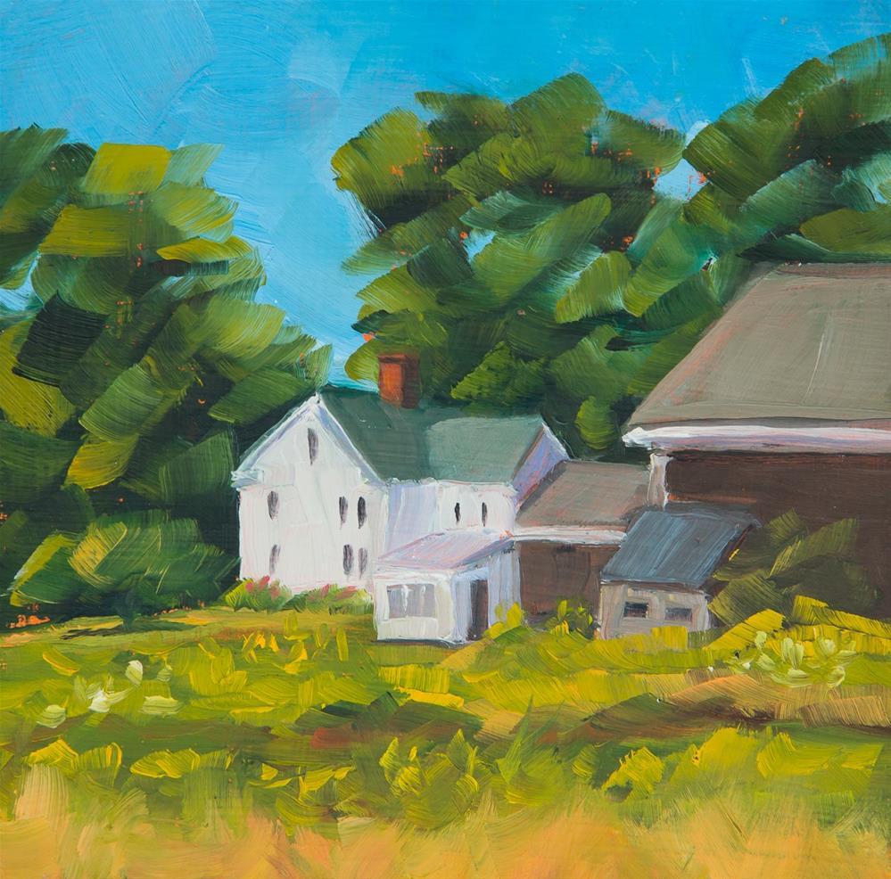 """Maine Farmhouse in Summer"" original fine art by Sara Gray"
