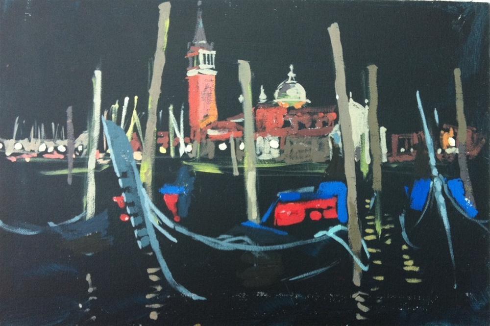 """""""San Giorgio Maggiore at night"""" original fine art by Haidee-Jo Summers ROI"""