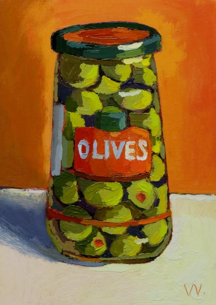 """Olive Jar"" original fine art by Joan Wiberg"