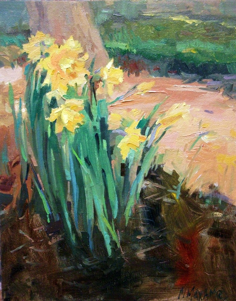 """""""ButterYellow - First Daffodils of Spring"""" original fine art by Mary Maxam"""