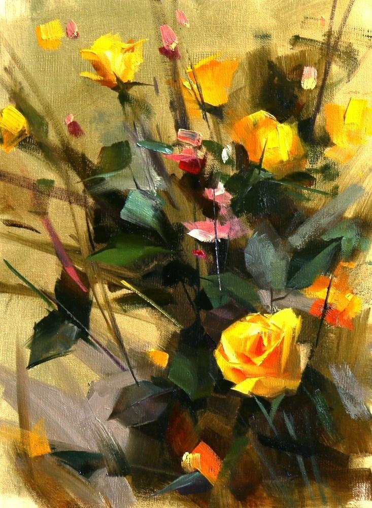 """""""Yellow Rose Study 081215"""" original fine art by Qiang Huang"""