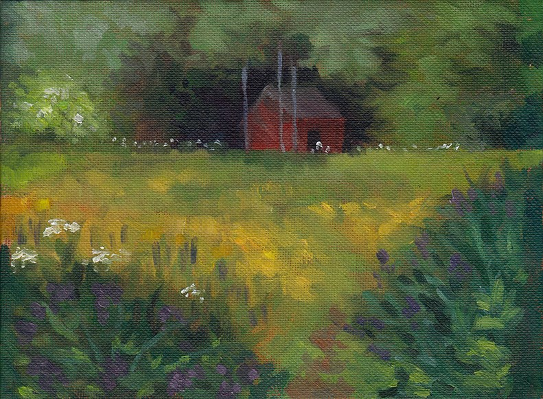 """The Red Shed, June"" original fine art by J M Needham"
