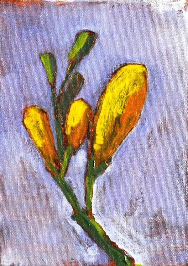 """""""Flower Painting- Yellow Freesia Buds"""" original fine art by Kevin Inman"""