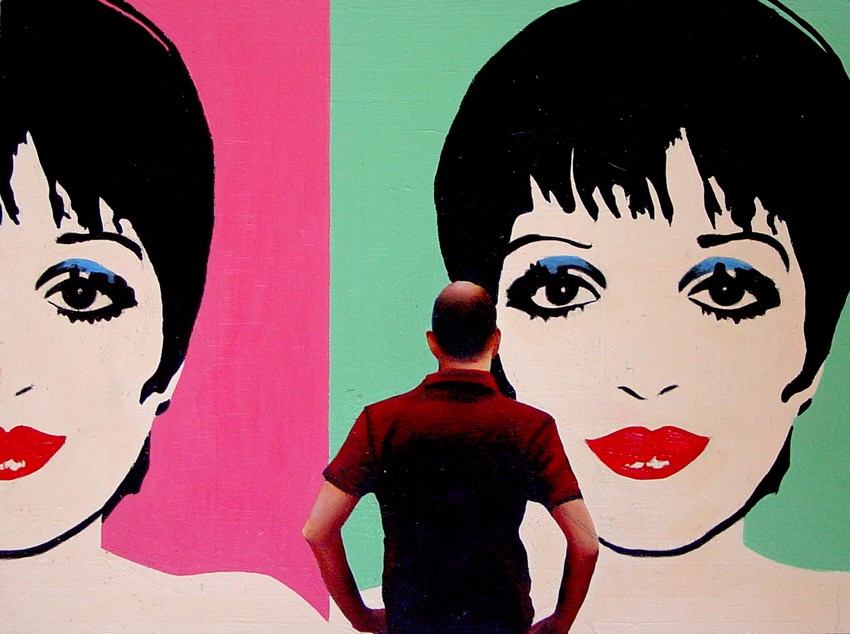 """Liza- Painting Of Man Enjoying Painting Of Liza Minnelli By Andy Warhol"" original fine art by Gerard Boersma"