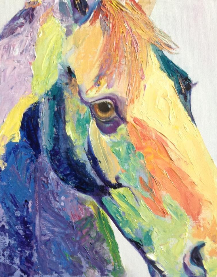 """Palette Knife Pony 3"" original fine art by Lyn Gill"