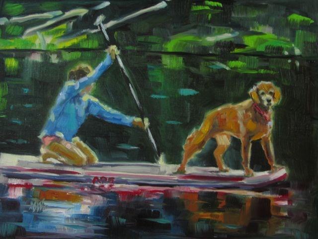 """""""THE DOG PADDLE"""" original fine art by Mb Warner"""