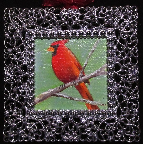 """""""Cardinal on a Branch"""" original fine art by Ruth Stewart"""