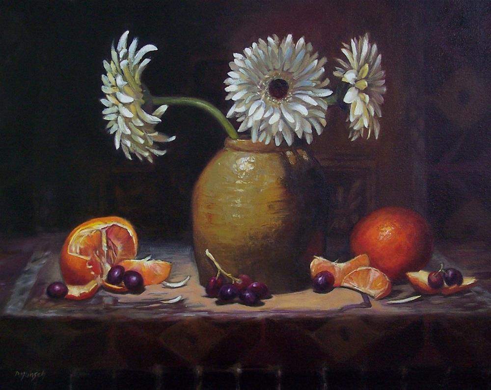 """White Daisies with Fruit"" original fine art by Donna Munsch"