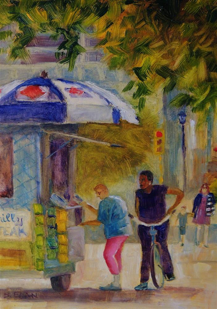 """Marrero's Hot Dog Cart"" original fine art by Sharon Egan"