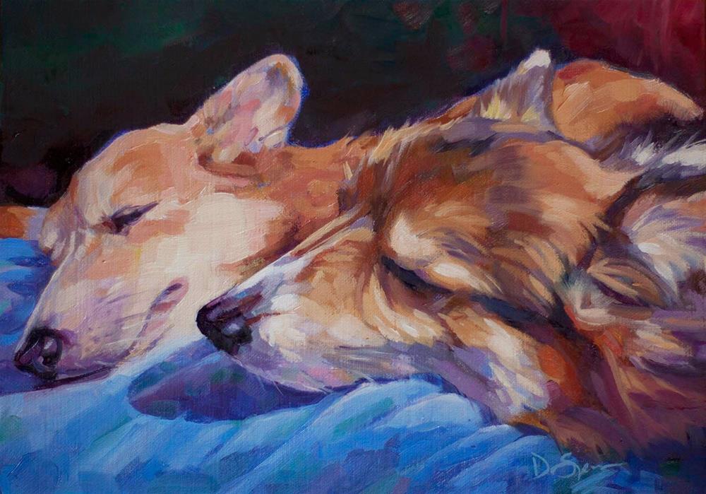 """""""Sleeping Siblings"""" original fine art by Deborah Savo"""