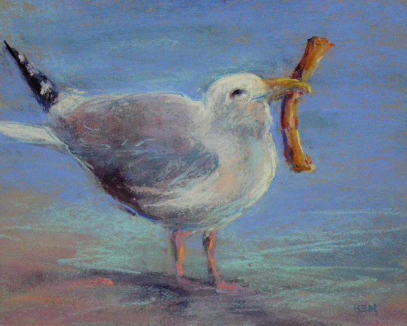 """Are you as Happy as a Gull with a French Fry?"" original fine art by Karen Margulis"