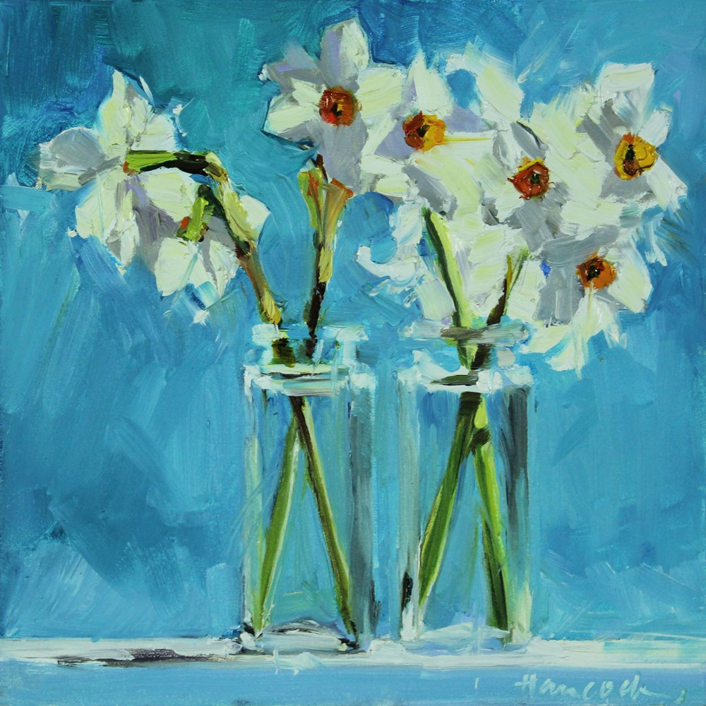 """Spring Daffodils on Turquoise"" original fine art by Gretchen Hancock"