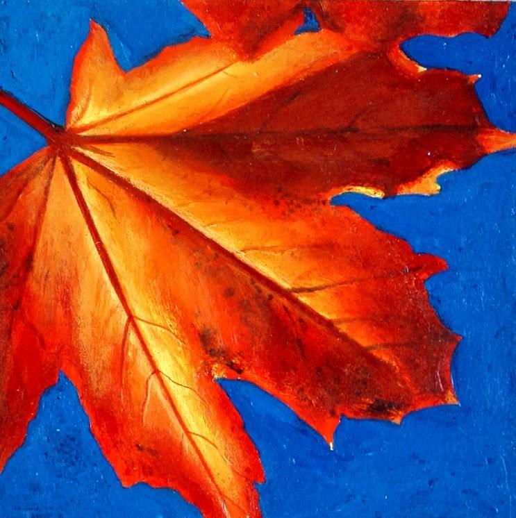"""Autumn Leaf- Still Life Painting Of Autumn Leaf Maple Tree"" original fine art by Gerard Boersma"
