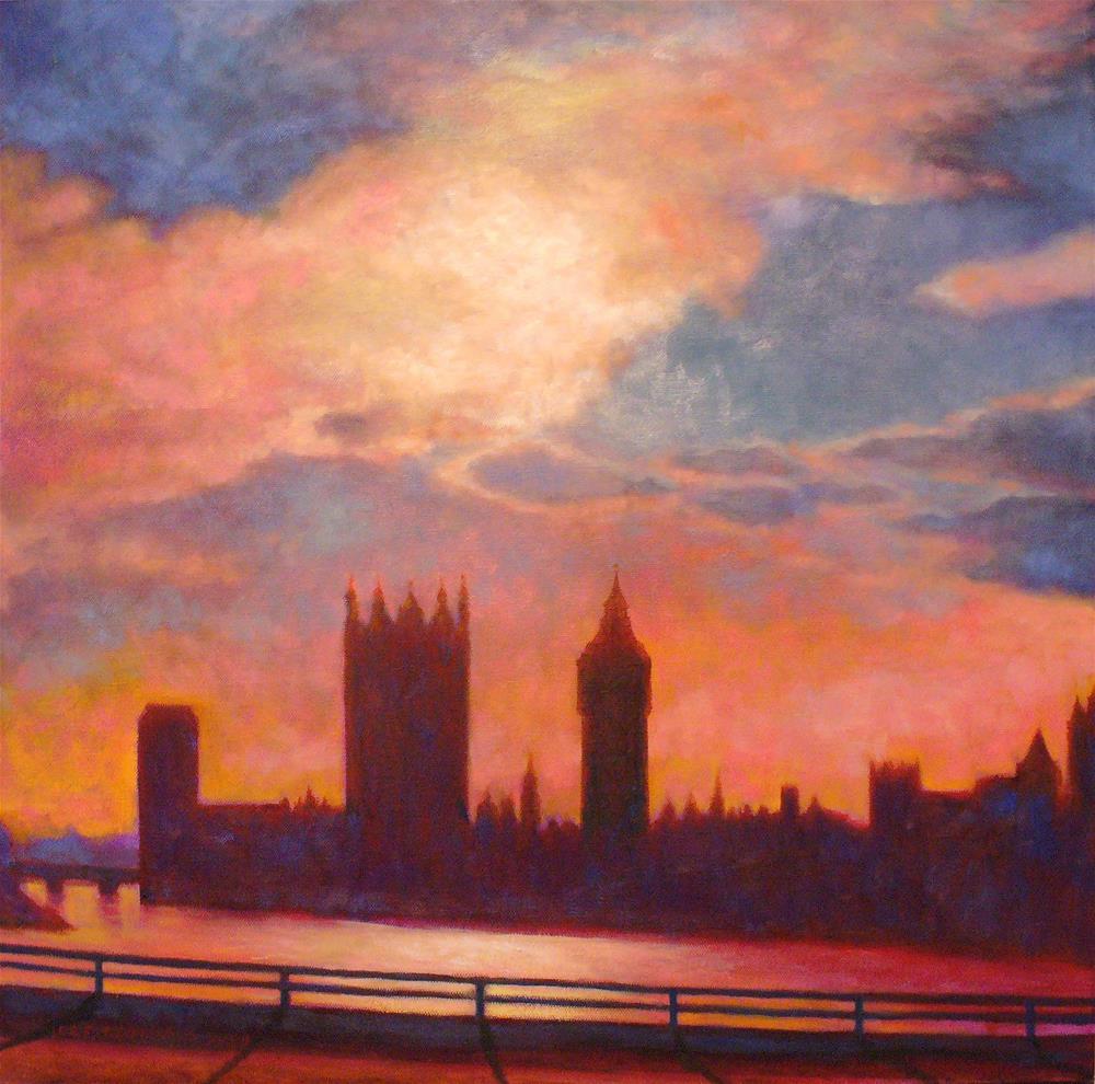"""""""Sunset - Houses of Parliament"""" original fine art by Joe Fitzgerald"""