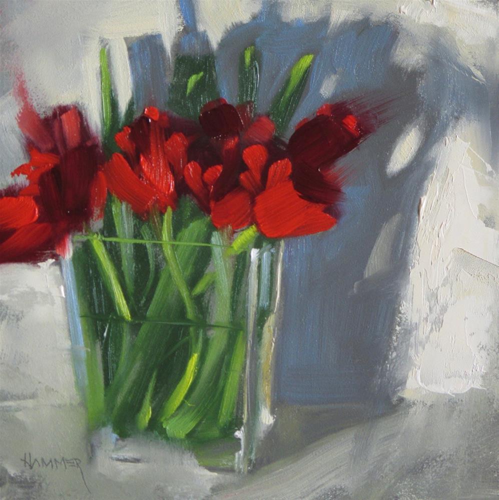 """Tulips  8 x 8  oil"" original fine art by Claudia Hammer"