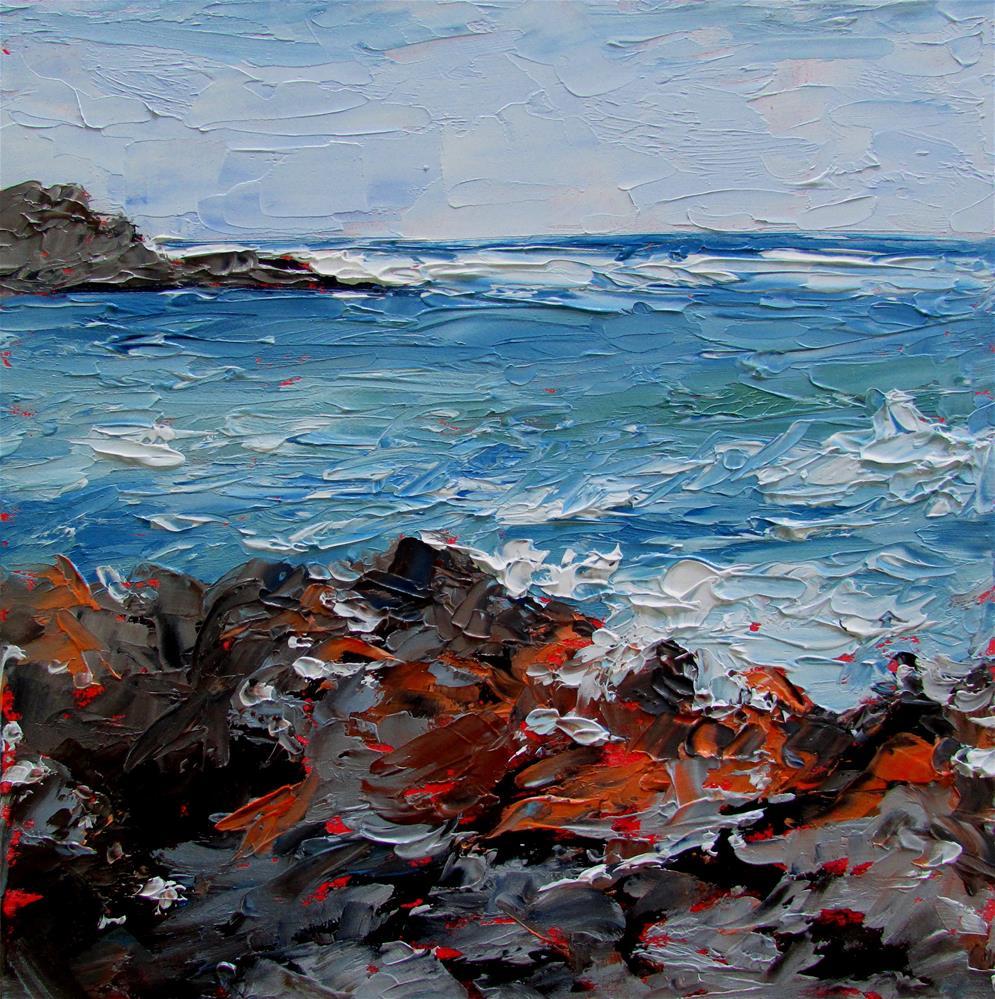 """""""8 x 8 inch oil Waves"""" original fine art by Linda Yurgensen"""