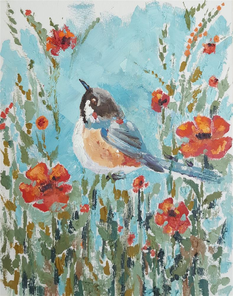 """Songs of Chickadee"" original fine art by Bhavna Misra"