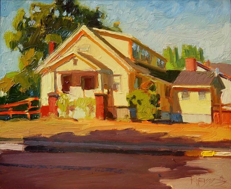 """Yellow House on Race Street  plein air, urban, oil painting by Robin Weiss"" original fine art by Robin Weiss"