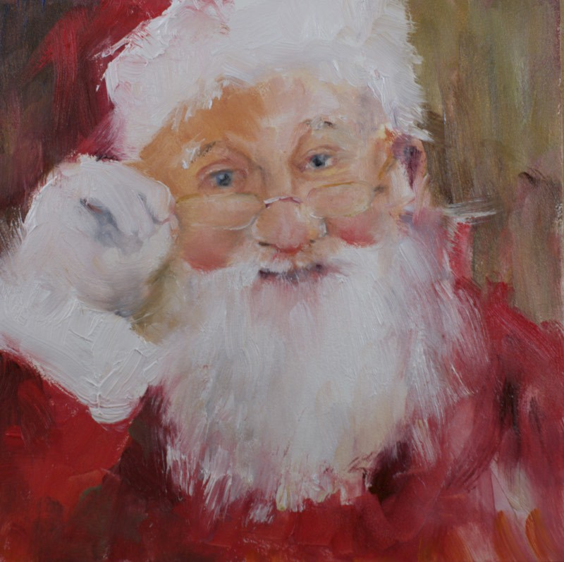 """Santa #4 (2014)"" original fine art by Sue Churchgrant"