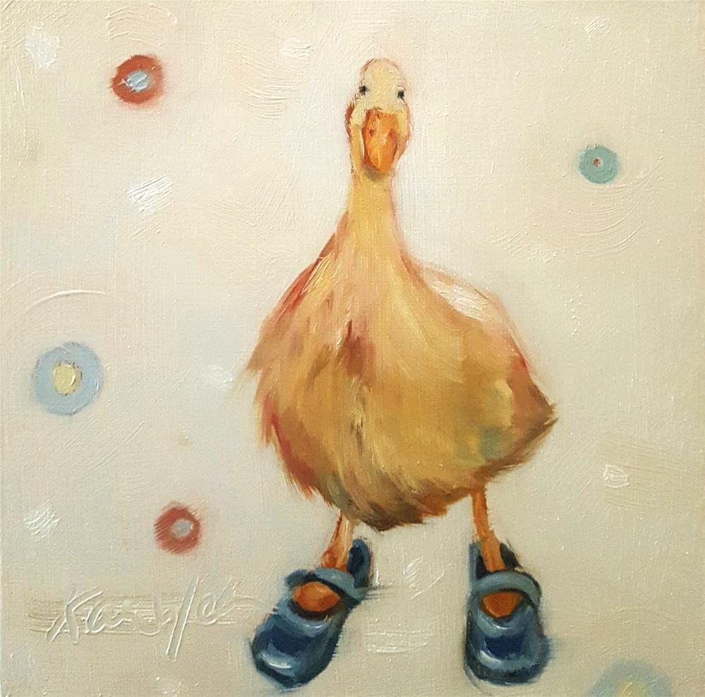 """Blue Mary Janes"" original fine art by Karen Weber"