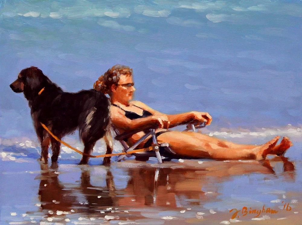 """""""Lady Sitter -- Series Painting of Dogs & Owners on the Beach"""" original fine art by Joanna Bingham"""
