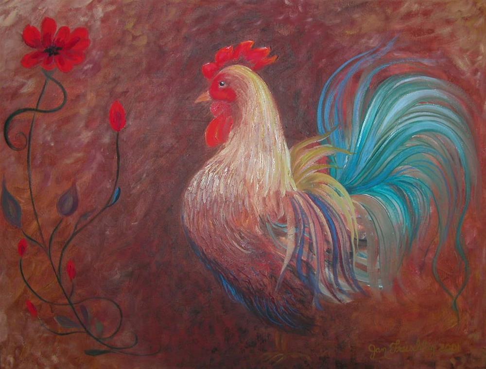 """""""Blue rooster"""" original fine art by Janice Freischlag"""
