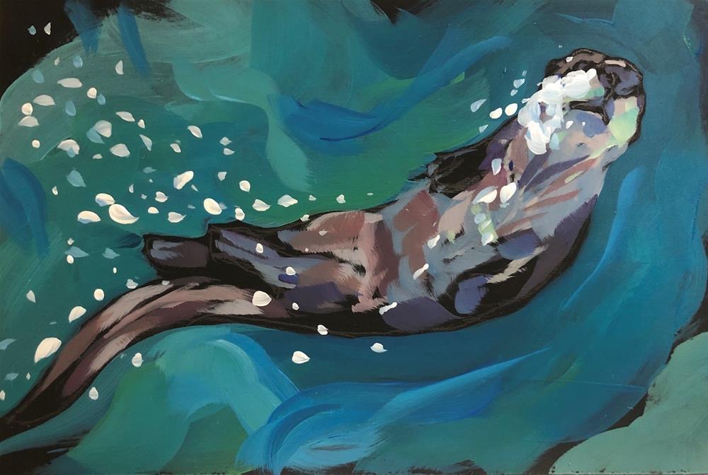 """""""Bubble Trail"""" original fine art by Kat Corrigan"""