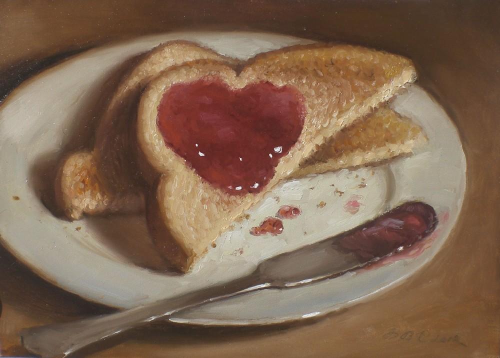 """Jelly Heart on Toast"" original fine art by Debra Becks Cooper"
