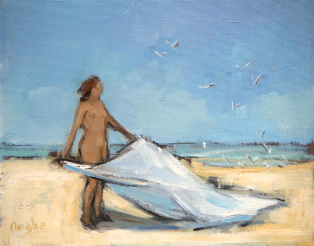 """Nude with Beach Blanket"" original fine art by Angela Ooghe"