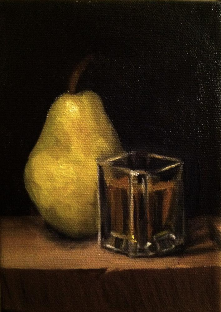 """Pear and Whiskey"" original fine art by Gilles Lafond"