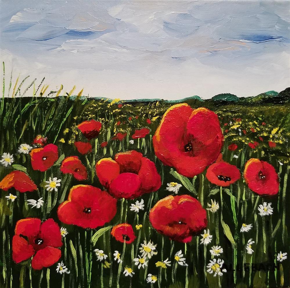 """""""Red Flower Meadow"""" original fine art by Jo Allebach"""