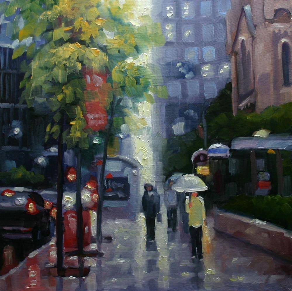 """October Rain, King Street, Toronto"" original fine art by Catherine Jeffrey"