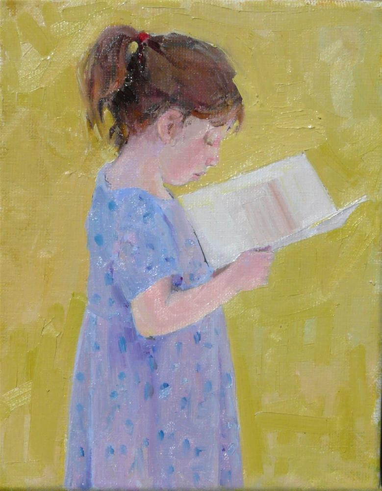 """""""Girl with Picture Book,figure,oil on linen canvas,10x8,price$400"""" original fine art by Joy Olney"""