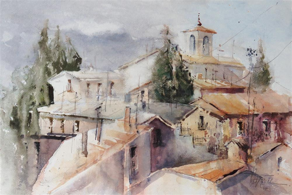 """Rooftops II, Italy"" original fine art by Christa Friedl"