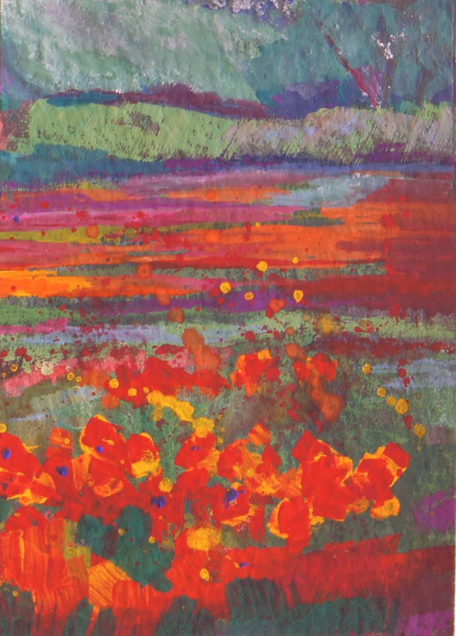 """""""ACEO miniature art - Provence poppy fields by Marion Hedger"""" original fine art by Marion Hedger"""