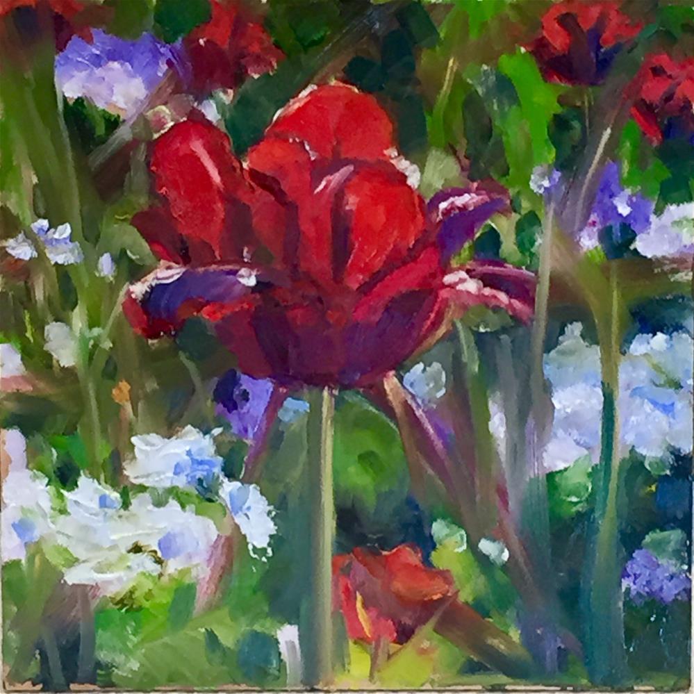 """Lone Tulip"" original fine art by Donna Raven"