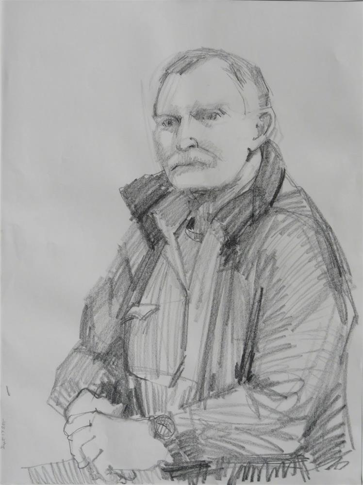"""Drawing of John,figure,graphite on paper,24x18.price$100"" original fine art by Joy Olney"
