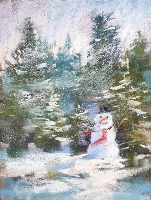 """My Annual Snowman Painting and a Tip for Painting Snow"" original fine art by Karen Margulis"