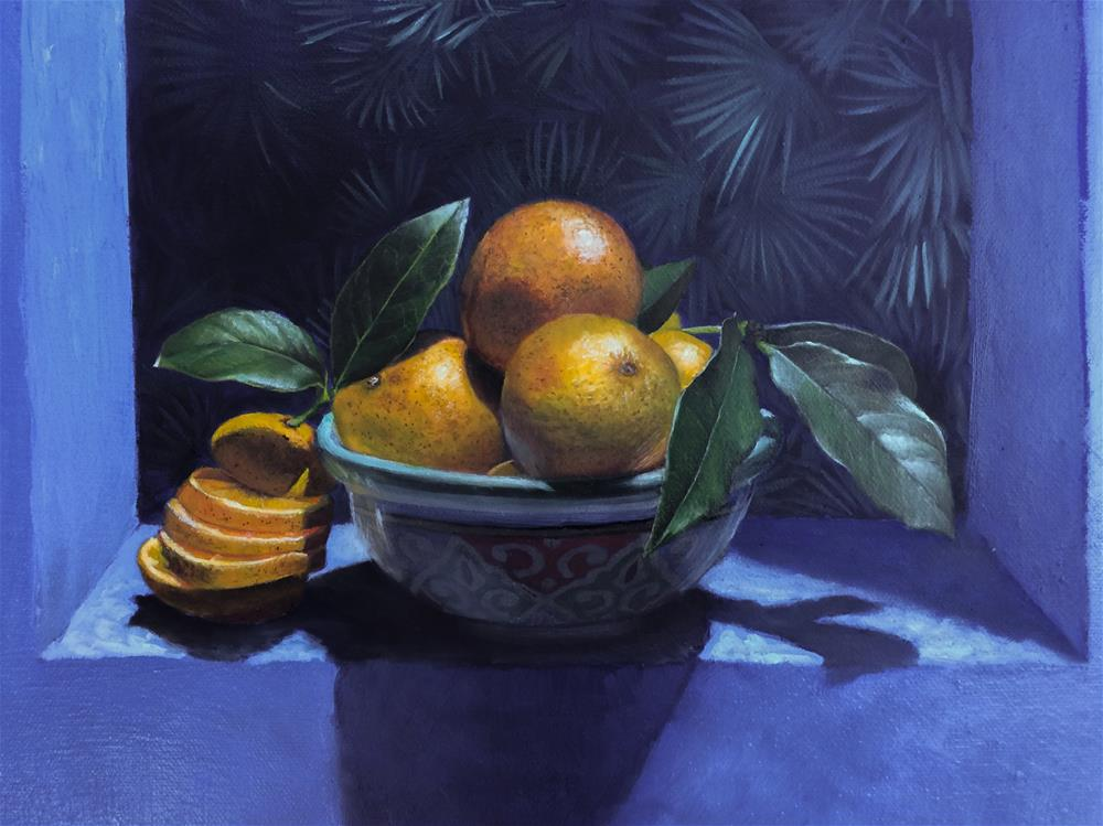 """Orange Delight II – 20 x 20 inches Oil on canvas"" original fine art by Paulo Jimenez"