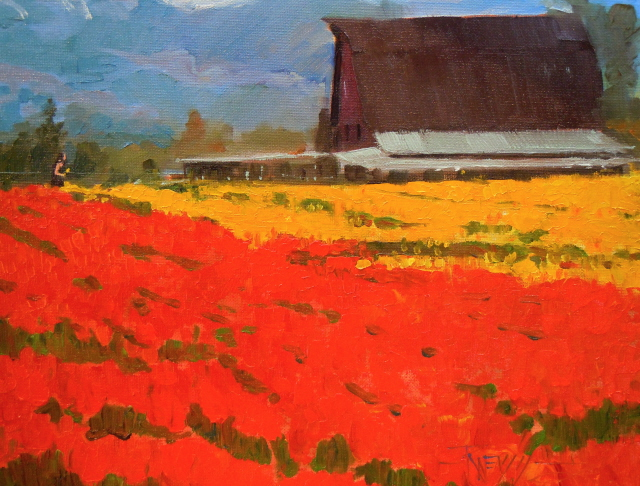 """Flower Barn  Skagit Co. tulip festival, oil landscape painting"" original fine art by Robin Weiss"