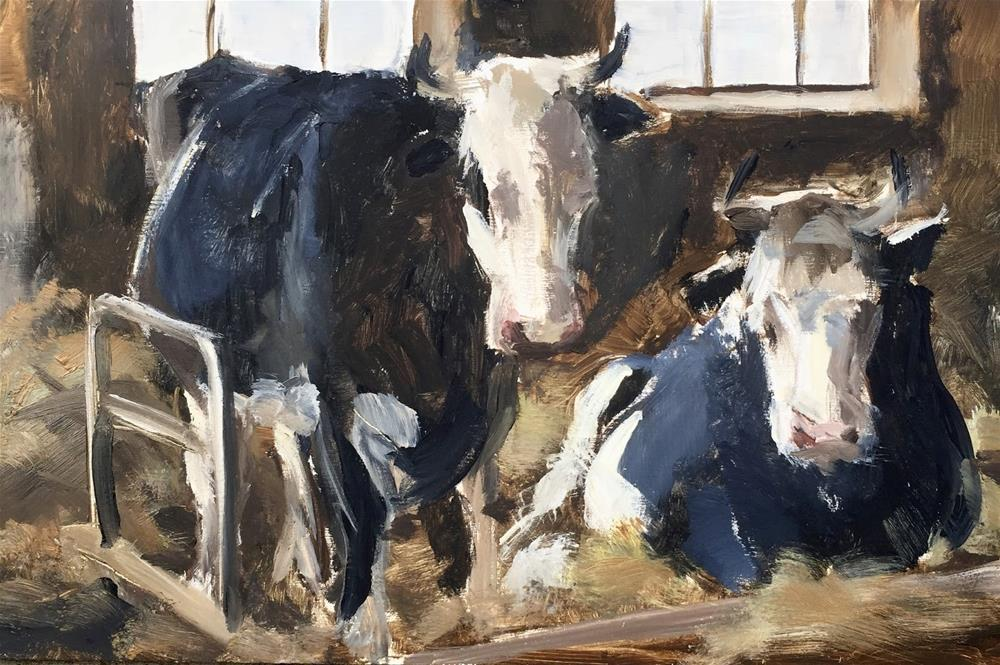 """Black and white cows"" original fine art by Philine van der Vegte"
