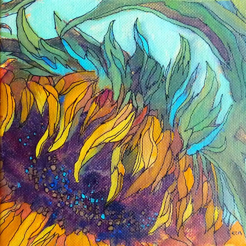 """Sunflower Acrylic Painting with Ink Lines"" original fine art by Karen Margulis"