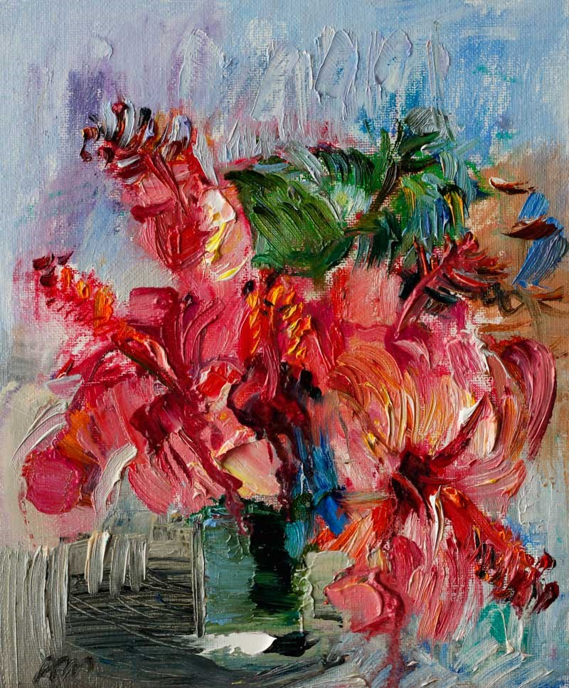 """Pink Hibiscus Bouquet"" original fine art by Anna Fine Art"